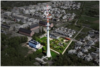 Fernmeldeturm, Partnergärten und Studentenwohnheim »Maison Sartre«