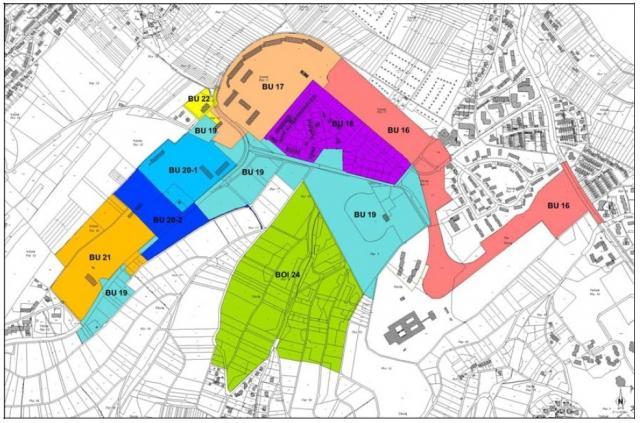 Plan der Bebauungspläne Petrisberg 2001